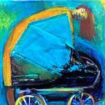 Disposable Mother, FFP2, acrylic paint, marker on canvas, 20 x 20 x 1 cm, 2021