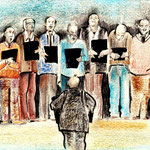 """""""Church Choir"""" oil pastels and marker on paper, 24 x 32 cm, 2016  (sold to a collectot in Germany)"""