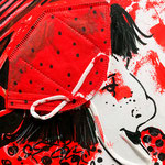 Disposable Lady in Red with Polka Dots, FFP2 on gesso board, 20 x 20 x 3 cm, 2021