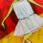 Disposable Ballerina No 2, acrylic, ink and surgical mask on Ampersand artist panel, 18 x 24 x 0,09 cm, 2021