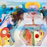 Aquarelle, Marker, Buntstift auf Papier, 24 x 32 cm, 2019