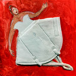 Disposable Ballerina No 1, acrylic paint, liner, FFP2 on gesso board, 20 x 20 x 3 cm, 2021