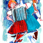Disposable Dancing Women with Harmonica, acrylic, surgical mask on paper, 30 x 40 cm, 2021 (sold, Germany)