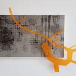 Vlist A 51.4 - 2018 - 35x50x4 cm tekening op papier, mdf, kunststof en spijkers