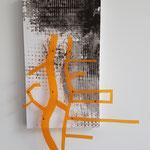 Vlist B 51.4 - 2018 - 45x32x4 cm tekening op papier, mdf, kunststof en spijkers