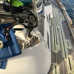 Teak deck caulking