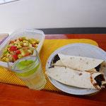Burritos with fresh salad