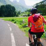 Biking around the island of Moorea...