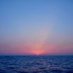 Erster Sonnenuntergang im Atlantik