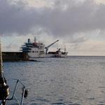 Supply ship anchored outside Harbor