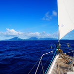 ...with Raiatea on our bow the next day.