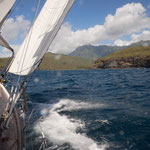 Tacking on the North coast of Nuku Hiva