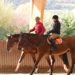 Linda auf einem Kurs-Pferd