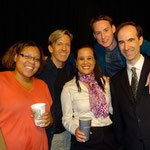Closing night for NOT HERE YET (left to right): Ariel Griffin (Charlene), William Fowkes (playwright), Sondra Hunt (Eleanor), Bradley LeBoeuf (director), and Joseph Sexton (Richard).