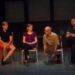 Playwrights talkback (William Ivor Fowkes, Jo Walker, Mark Eisman, playwrights; Mark W. Sasse, director) [Photo by Stephen Michael Smith]