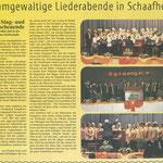 Liederabend Gemischter Chor und Männerchor (Schaafheimer Zeitung vom 05.04.2012)