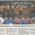 Night of Music (Auftritt Chorios bei der AGV Bruderkette Schaafheim, Main Echo vom 05.06.2012)