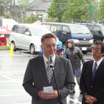 雨の中、駆け付けたウルス・ブーヘル駐日大使がダボスと菅平の友好を語る
