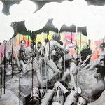 o.T. (Pool party), 2009 - Acryl, Papier und Sprayfarbe auf Leinwand