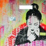 o.T. (Hipsterland ist abgebrannt), 2012 - Acryl, Tape und Marker auf Leinwand