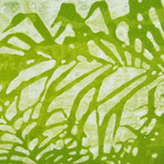 """Asta Rode, """"mein Garten"""" Öl auf Aquarellpapier, 60 x 120 cm, 2011"""