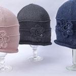 "Mütze ""Valeska"" // Baumwolle Viscose // Farbe 73 // Farbe 37 // Farbe 5 (v. l. n. r.)"