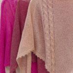 "Tuch ""Thea"" in Mohair Seide pink, bordeaux, altrosa (v. l. n. r.)"