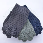 """Stirnband """"Jana"""" in Baumwolle Viscose blau anthrazit, mittelgrau meliert, dunkelblau (v. l. n. r.)"""