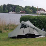 mein Zelt auf dem 1. Außeneinsatz auf Campingplatz Prinzenholz (Kellersee)