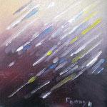 Pluie d'étoiles - Huile sur carton toilé