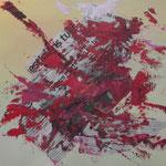 Désert ensanglanté - Acrylique, huile et collage - carton toilé