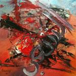 Peuple - Huile et collage - toile sur châssis - VENDU