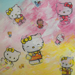 Kitty - Huile et collage - carton toilé - VENDU