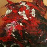 Liberté de la presse (2) - Huile et collage - carton toilé - VENDU