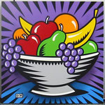 Fruit Bowl Popout serigraph on Wood