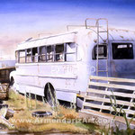 Maxwell Street Bus  32 x 40 Watercolor  $1500