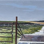 "Cattle Gate, Nation Tall Grass Prairie by Russell Horton, Oil on canvas over board, 8 3⁄4""x70 3⁄4"", $3000"