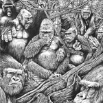 "Plea Of The Primate - Graphite - 22"" x 28"" Original Art $2000.00 *Prints available (limited to 250 prints 13"" x 19"" - $25.00 without Frame)"