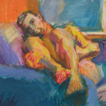 Payton in the Blue Easy Chair……..Paul Rybarczyk……Pastel on Paper……………….………..400