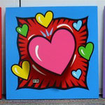 I love you Hearts popout lmtd ed. serigraph on wood