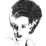 "Bride of Frankenstein - Pen and Ink - 18"" x 24"" Original Art $650.00 *Prints available (limited to 250 prints 11"" x 14"" $20.00)"