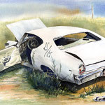 White Car  24 X 30  Watercolor  $700