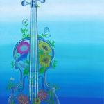 「梅原倫弦ヴァイオリンリサイタル」フライヤー用イラスト 画用紙にアクリルガッシュ、色鉛筆 210×297mm(A4)2013年4月