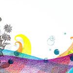 アサコ ミニアルバム「かさなり」CDジャケット用イラストレーション 2010年 画用紙に色鉛筆、鉛筆、インク