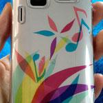 スマートフォンケース(依頼制作) 市販の透明プラスチックケース、カッティングシート 2011年【個人蔵】