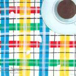 「たまにはお茶でもしませんか」(リキテックスマーカーモニター)画用紙にリキテックスマーカー、アクリルガッシュ、色鉛筆 235mm×203mm 2015年4月