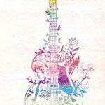 「Hana-Gretch」高円寺Bar tail 「5th Anniversary Live」フライヤー用イラスト 木パネルにアクリルガッシュ 210mm×297mm 2011年4月【高円寺「Bar to. entrance」蔵】