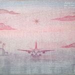「朝のフライト」ギャラリー檜「interactive -YOUTH-」出展 木パネルにアクリルガッシュ 273mm×190mm(P3) 2013年1月