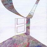 「扉」ギャラリィトウキョウジョウ「えとものがたり展2」他出展 木パネルにアクリルガッシュ 220mm×273mm(F3) 2009年12月【個人蔵】