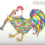 クラリネット奏者・伊藤仁歩さん名刺用イラスト 画用紙に色鉛筆 2013年3月